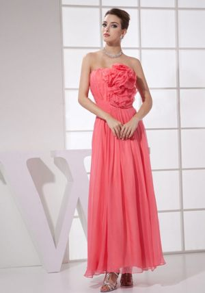 Flower Watermelon Red Strapless Bridesmaid Dress in Ballito South Africa