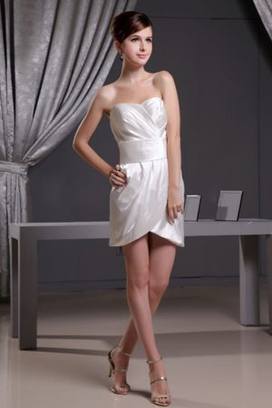 Lyon Franc White Sweetheart Mini-length Ruches Bridesmaid Dress