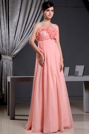 Reims France Hand Made Flowers Watermelon Strapless Bridesmaid Dress