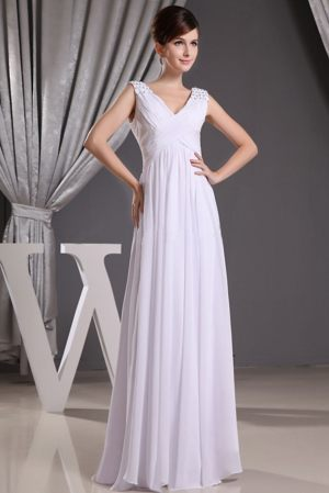 V-neck Beading and Ruches White Bridesmaid Dress in Aue Germany