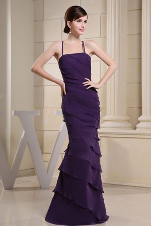 Purple Column Ruches and Ruffles Bridesmaid Dress in Dijon France