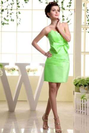 Toulouse Spring Green Bow and Ruches Strapless Bridesmaid Dress