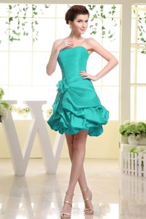 Strapless Pick-ups Hand Made Flower Bridesmaid Dress in Turquoise