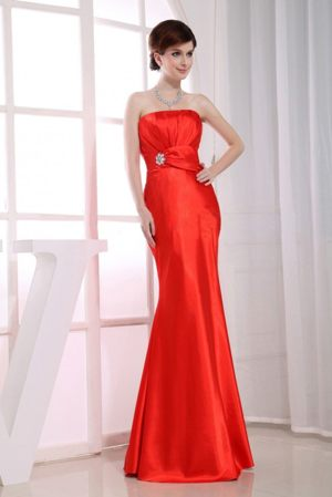 Addo South Africa Mermaid Strapless Beading Red Bridesmaid Dress