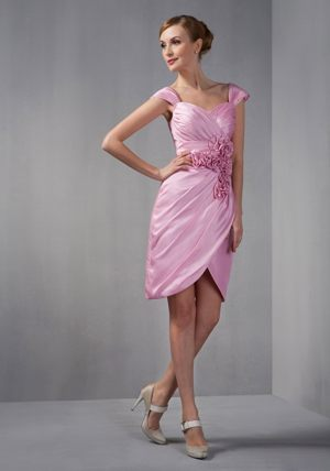 Cap Sleeves Rose Pink Column Ruches and Flowers Bridesmaid Dress