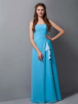 Strapless Baby Blue Column Bridesmaid Dress in Argenteuil France