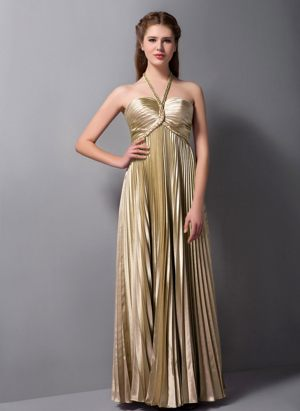 Alice South Africa Brown Column Halter Pleated Bridesmaid Dress