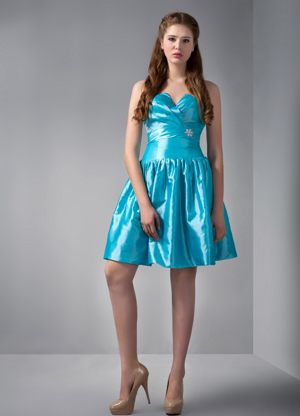 Teal A-line V-neck Beading and Ruches Bridesmaid Dress in Paris France
