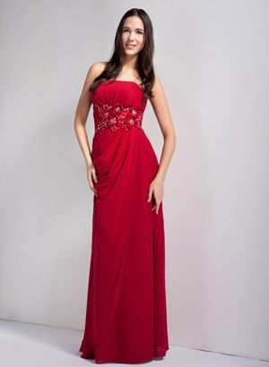 Wine Red Empire Strapless Bridesmaid Dress with Appliques and Beading
