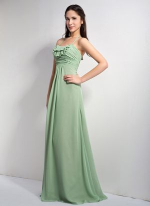 Apple Green Halter Ruches Empire Bridesmaid Dress in Lyon France