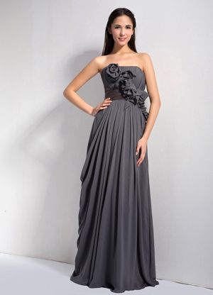 Dark Empire Hand Made Flowers Strapless Bridesmaid Dress in Grey