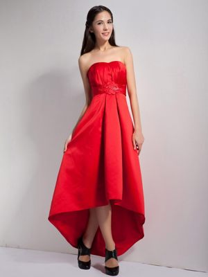 Le Mans France Strapless Appliques High-low Red Bridesmaid Dress