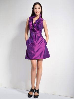 Eching Germany Purple A-line Halter Bridesmaid Dress Mini-length