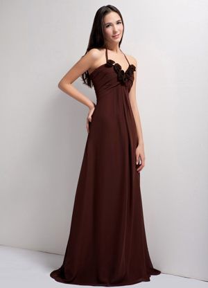 Sweetheart Brown Empire Hand Made Flowers Ruches Bridesmaid Dress
