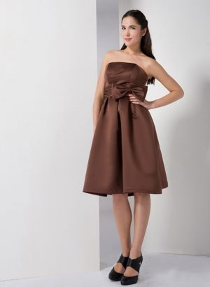 Strapless Brown A-line Bow Bridesmaid Dress in Bisho South Africa