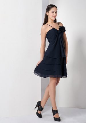 Flower Navy Blue Spaghetti Straps Bridesmaid Dress in Lyon France