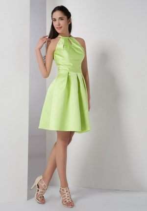 Lille France Yellow Green A-line High-neck Ruche Bridesmaid Dress