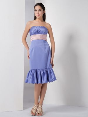 Lilac Strapless Belt and Ruches Bridesmaid Dress in Lyon France