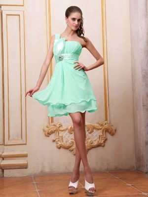 Garbsen Germany Apple Green One Shoulder Beading Bridesmaid Dress