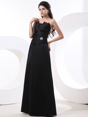 Lille France Black Strapless Beading and Ruches Bridesmaid Dress