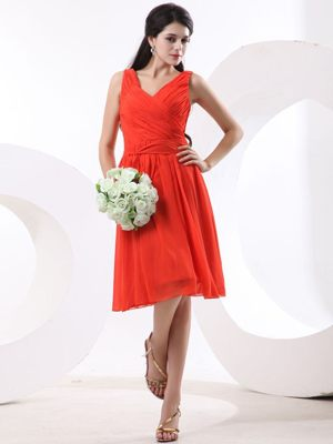 Euskirchen Germany V-neck Ruches Bridesmaid Dress in Orange Red