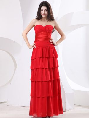 Red Sweetheart Ruches Ruffled Layers Bridesmaid Dress in Toulouse