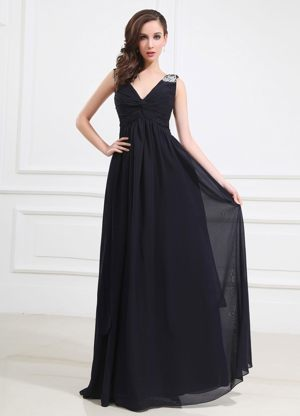Beaded Shoulder V-neck Navy Blue Bridesmaid Dress in Celle Germany