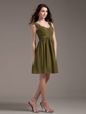 Strasbourg Olive Green Straps Knee-length Ruches Bridesmaid Dress