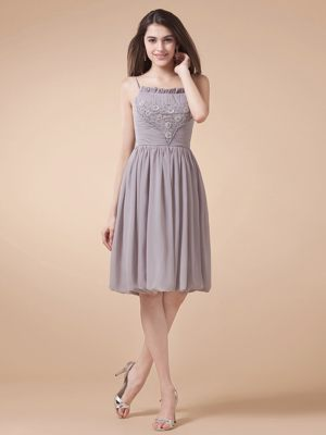 Grey Spaghetti Straps Beaded Bridesmaid Dress in Cuxhaven Germany