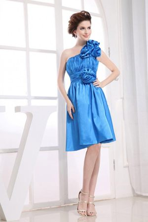 Flowers Ruches One Shoulder Aqua Blue Bridesmaid Dress in Paris
