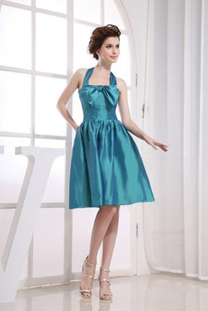 Howick South Africa Halter Teal Bowknot A-line Bridesmaid Dress