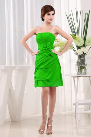 Bordeaux France Green Strapless Ruche and Flower Bridesmaid Dress