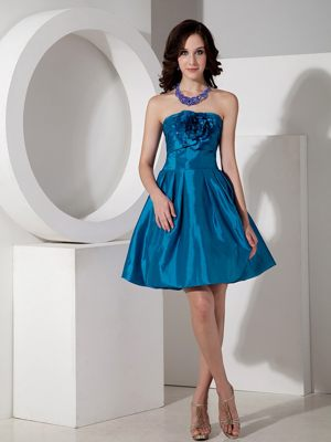 Durban South Africa Strapless Teal Flower Ruches Bridesmaid Dress
