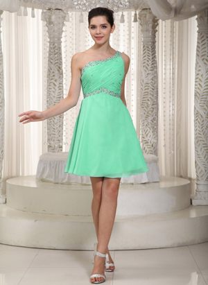 One Shoulder Apple Green Beading Bridesmaid Dress in Bautzen Germany