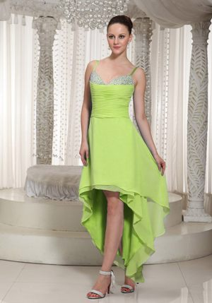 Spaghetti Straps High-low Beading Yellow Green Bridesmaid Dress