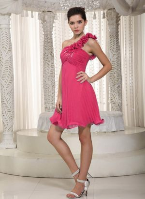 Beading and Flowers One Shoulder Red Bridesmaid Dress Mini-length