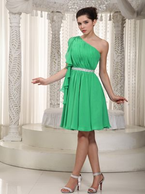 Alzey Germany Green Beading One Shoulder Ruched Bridesmaid Dress