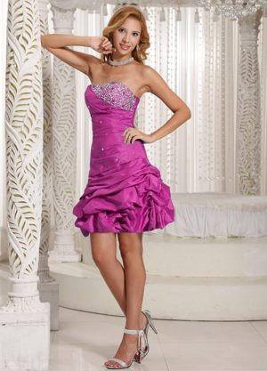 Beading and Pick-ups A-line Strapless Bridesmaid Dress in Fuchsia