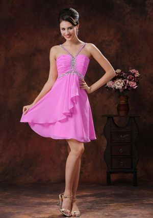 V-neck Pink Beaded Ruched Pink Bridesmaid Dress in Alzey Germany