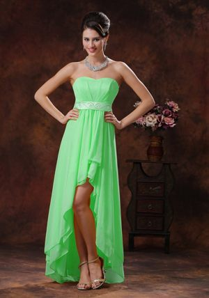 Benoni South Africa High-low Strapless Green Bridesmaid Dress with Belt