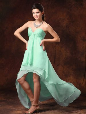 High-low Apple Green Sweetheart Beading Bridesmaid Dress in Rennes France
