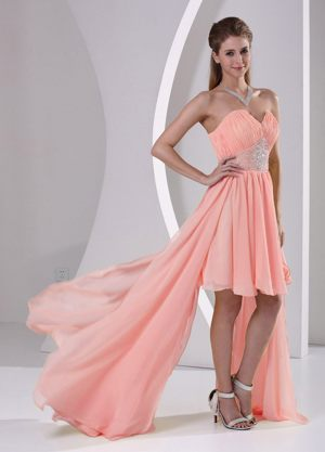 High-low Sweetheart Beading Watermelon Bridesmaid Dress in Lille France
