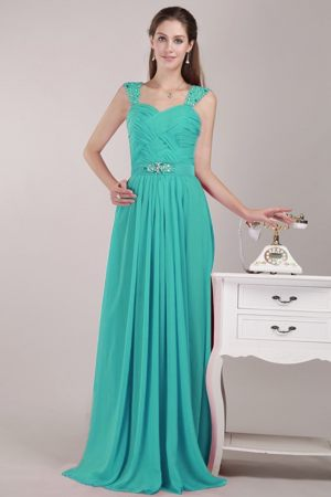 Turquoise Empire Straps Beading Bridesmaid Dress in Bonn Germany
