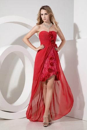 Flowers and Embroidery Sweetheart High-low Red Bridesmaid Dress