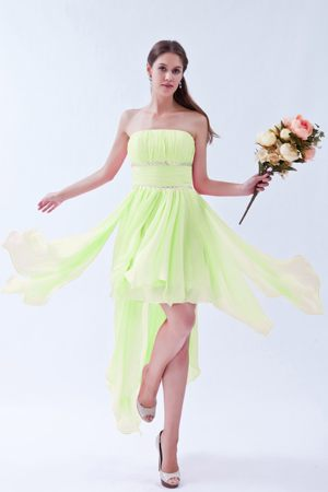 Lyon Yellow Green Beading Strapless Asymmetrical Bridesmaid Dress