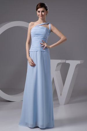 Brits South Africa Light Blue One Shoulder Ruches Bridesmaid Dress