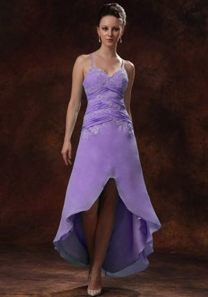 High-low Appliques Ruches Straps Purple Bridesmaid Dress in Paris