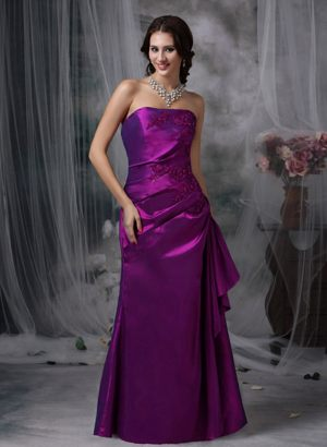 Purple Column Strapless Applique Bridemaid Dress in Celle Germany