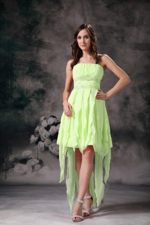 Marseille Yellow Green High Low Strapless Ruches Bridemaid Dress