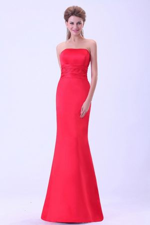 Coral Red Brush Train Strapless Mermaid Junior Bridesmaid Dresses